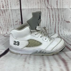 Children's Nike Air Jordan V 5 White Metallic Silv